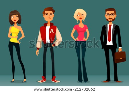 cute cartoon illustration of people in various outfits - stock vector