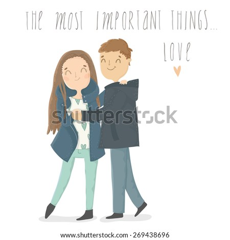 Cute cartoon illustration of young woman and man in love. The most important things... - stock vector
