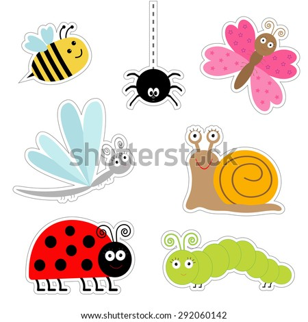 Cute cartoon insect sticker set. Ladybug, dragonfly, butterfly, caterpillar, spider, snail. Isolated. Flat design Vector illustration - stock vector
