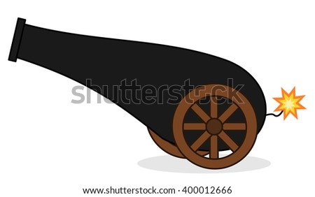 cute cartoon isolated cannon vector illustration on white background - stock vector