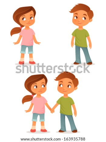 cute cartoon kids either a brother and sister or little friends holding hands - Cartoon Kids Pics