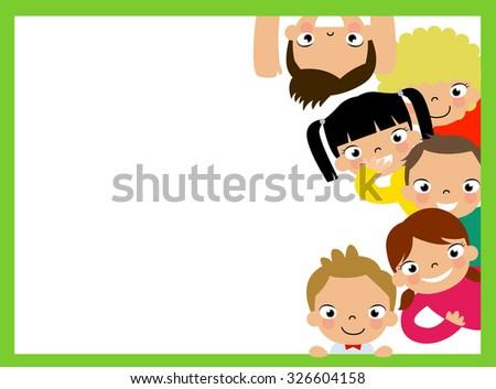 Cute Cartoon Kids Frame Vector de stock326604158: Shutterstock