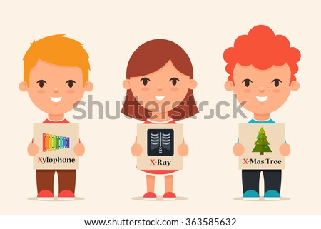 Cute Cartoon Kids Holding Pictures Words Stock Vector 363585632 ...