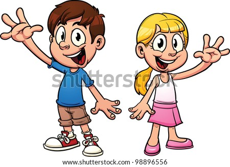 Cute cartoon kids waving hello. Vector illustration with simple gradients. Each in a separate layer. - stock vector