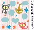 Cute cartoon kittens and speech bubbles - stock vector