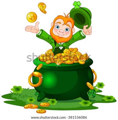 Cute cartoon Leprechaun sitting on pot of gold - stock vector