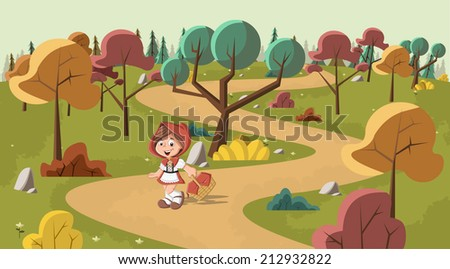 Cute cartoon little red riding hood in the wood with a basket in hands - stock vector