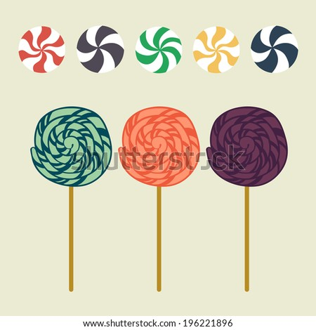 Cute cartoon lollipops and caramel candies in flat style isolated on light background. - stock vector