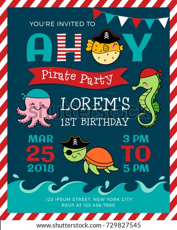 Cute cartoon marine life illustration pirate stock vector cute cartoon marine life illustration for pirate theme party invitation card template stopboris