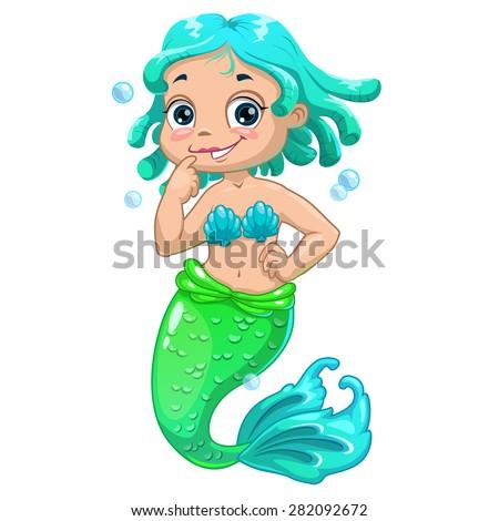 cute cartoon mermaid blue hair vector isolated illustration
