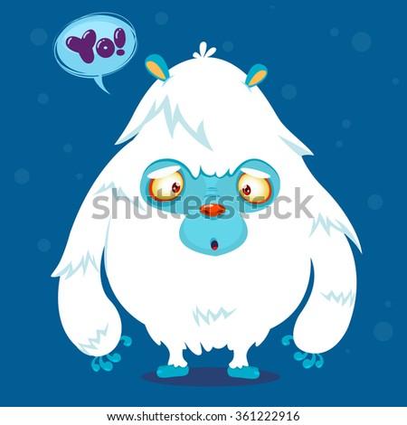 Cute cartoon monster. Vector bigfoot character - stock vector