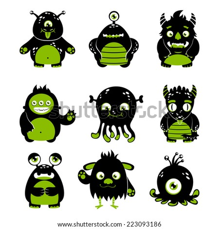 Cute cartoon monsters funny alien character black and green icons set isolated vector illustration - stock vector