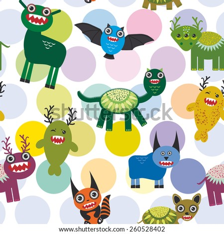 Cute cartoon Monsters Set.  seamless pattern on white background. Vector  - stock vector