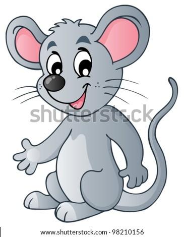 Cute cartoon mouse - vector illustration. - stock vector