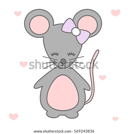 Cute Rat Big Heart On White Stock Illustration 535088041 ...