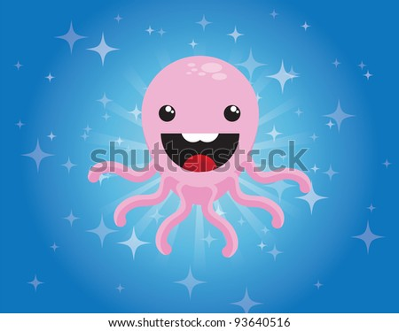Cute cartoon octopus character on blue background, vector - stock vector