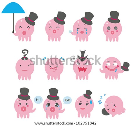 Cute cartoon Octopus squid funny emotional and expression icon (vector)