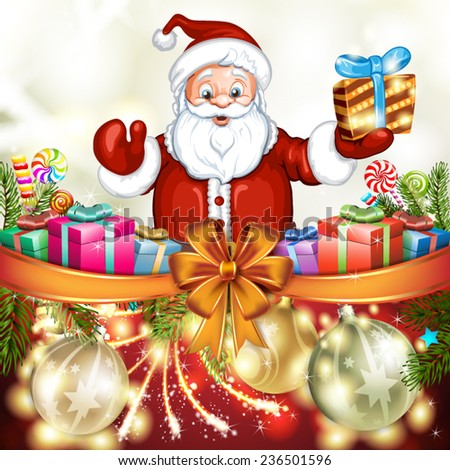 Cute cartoon of a Santa Claus holding a gift box - stock vector
