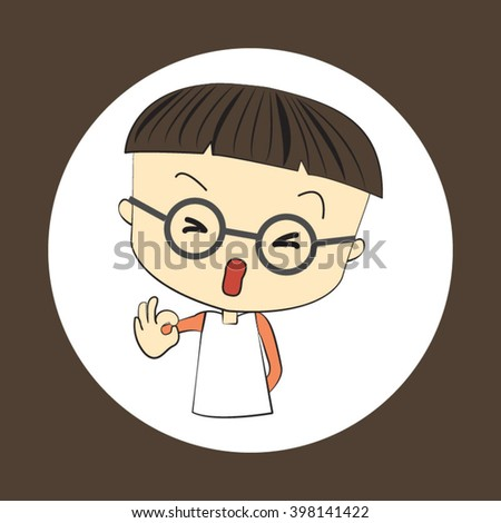 cute cartoon of young boy gesturing okay and shows the sign that everything is fine - stock vector