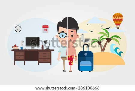 Cute Cartoon Office Worker: Vocation and Vacation - stock vector