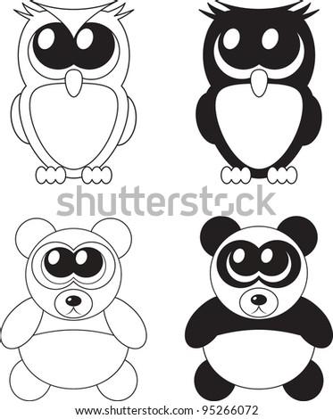 Cute cartoon owl and panda with big eyes, vector - stock vector