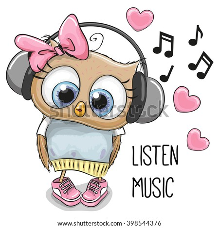 Cute cartoon Owl Girl with headphones and hearts - stock vector