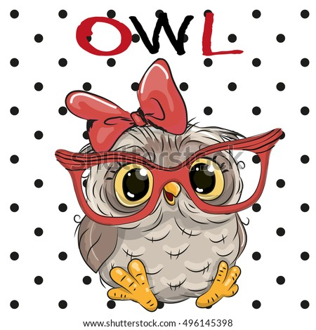Cute Cartoon Owl Glasses On Dots Stock Vector 496145398 ...