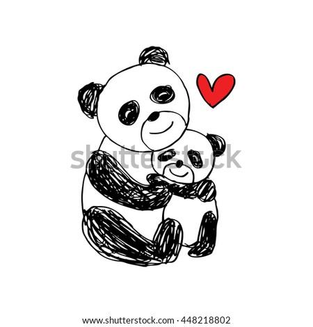 Cute cartoon panda.  - stock vector