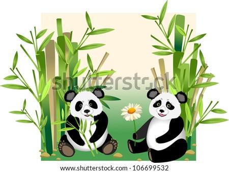 cute cartoon panda with flower - stock vector