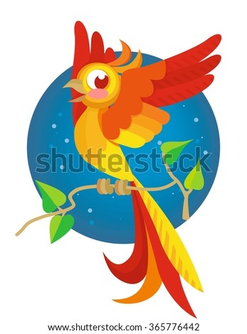 cute cartoon parrot for your design - stock vector