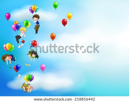 Cute cartoon people and children floating with colorful balloons in the sky with balloons background, create by vector - stock vector