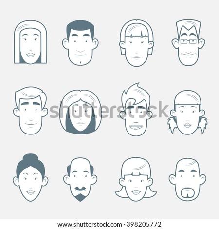 cute cartoon people face. cartoon avatars.avatars line. avatar icon,  business avatar,  people avatar,  people avatar icon,  character avatar,  avatar people,  face avatar, avatar flat, avatar vector - stock vector
