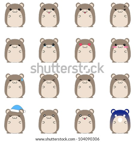 Cute cartoon pet hamster mouse and guinea pig animal in various action and emotional expression icons set in Japanese manga style (vector) - stock vector