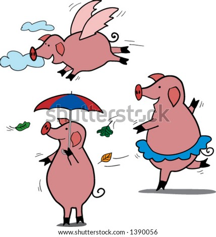 Cute cartoon pig characters. Flying piggy, ballet piggy and pig with umbrella on a windy day. Each on seprate layer - stock vector