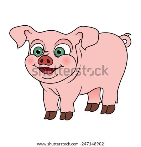 Cute cartoon pig, vector illustration - stock vector