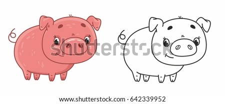 Cute cartoon pink pig. Vector pig in black outline. Vector illustration for kids