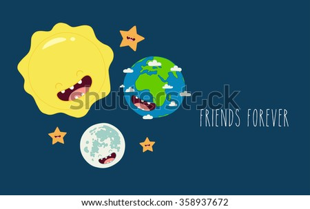 Cute cartoon planet earth sun and moon. Earth day background.