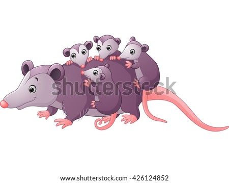 cute cartoon possum with children - stock vector