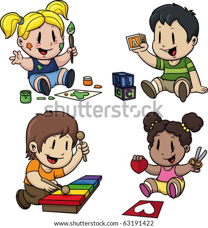 Cute cartoon preschool kids. All in separate layers for easy editing. - stock vector