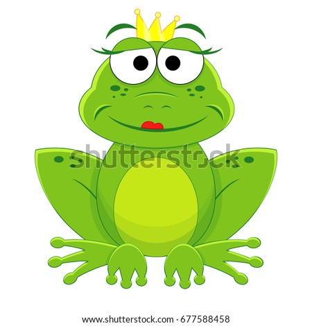cute cartoon princess frog fairy tale stock vector royalty free rh shutterstock com Black and White Frog Vector Black and White Frog Vector