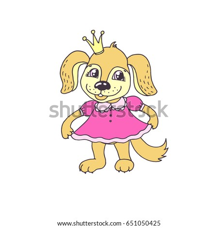 Cute cartoon puppy girl in pink dress. Little dog princess vector illustration for kids design.