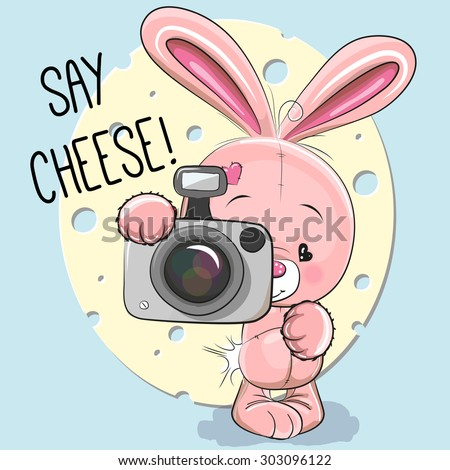 Cute cartoon Rabbit with a camera on a gray background - stock vector