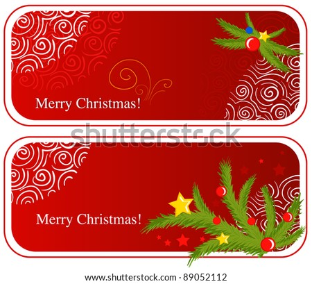 Cute cartoon red web banners with christmas decorations - stock vector