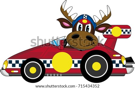 Cute Cartoon Reindeer Motor Racing Driver