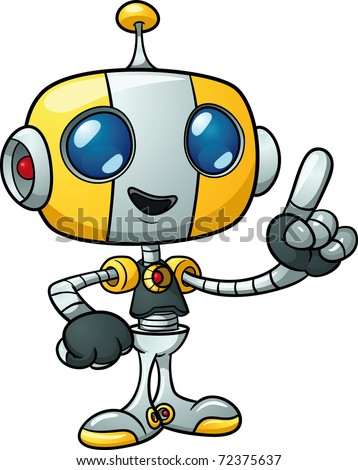 Cute cartoon robot holding finger up. Vector illustration with simple gradients. All in a single layer. - stock vector