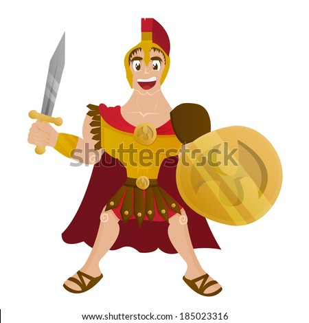 Cute Cartoon Roman Soldier - stock vector