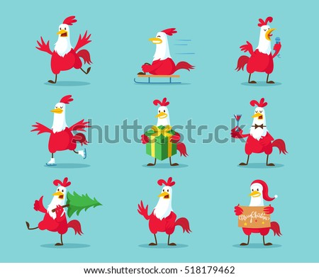 Cute Cartoon Rooster Vector Illustration Clipart Funny Red Roosters In Different Poses Isolated On Background