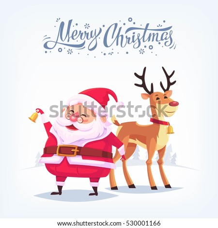 Cute Cartoon Santa Claus Ringing Bell And Funny Reindeer Merry Christmas  Vector Illustration Greeting Card Poster