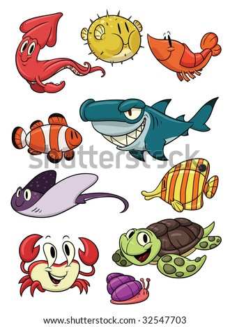 Cute cartoon sea creatures. All in different layers for easy editing. - stock vector