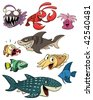 Cute cartoon sea creatures. All in separate layers for easy editing. - stock vector